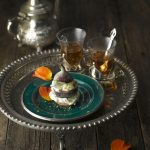 turkish dessert with fig and black tea