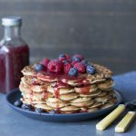 waffles-and-fruit-drizzled-with-raspberry-coulis