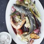 Seafood Story, Roasted sea bass with roasted vegetables andlangostino (prawns)