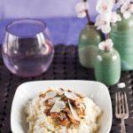 leek-risotto-with-herb-and-lemon-marinated-mushrooms-and-sardinian-pecorino