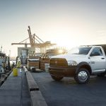 Ram Truck Stake bed at the dock with Dennis Outlaw of Union Adworks