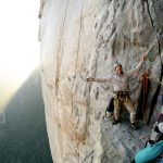 Climbers rejoice at a ledge high on El Capitan, Yosemite Valley.